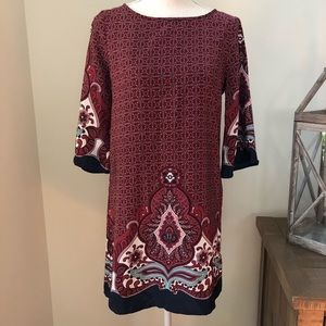 BeBop burgundy paisley print shift dress size M